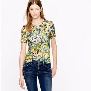 J.Crew Technicolor Floral Silk Printed Blouse Top
